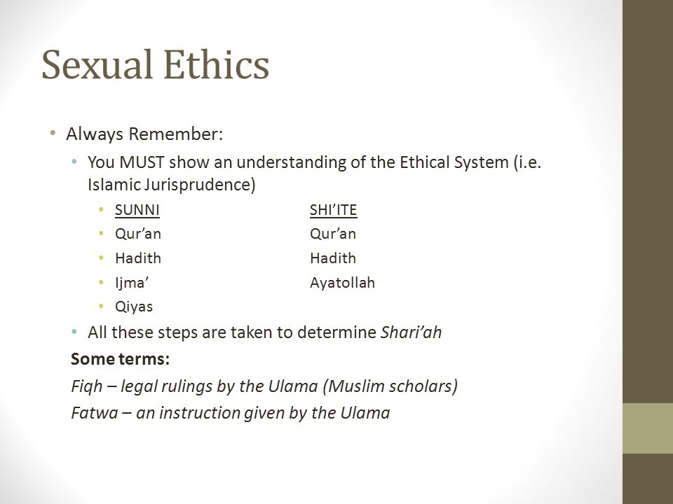 Sexual Ethics Always Remember: