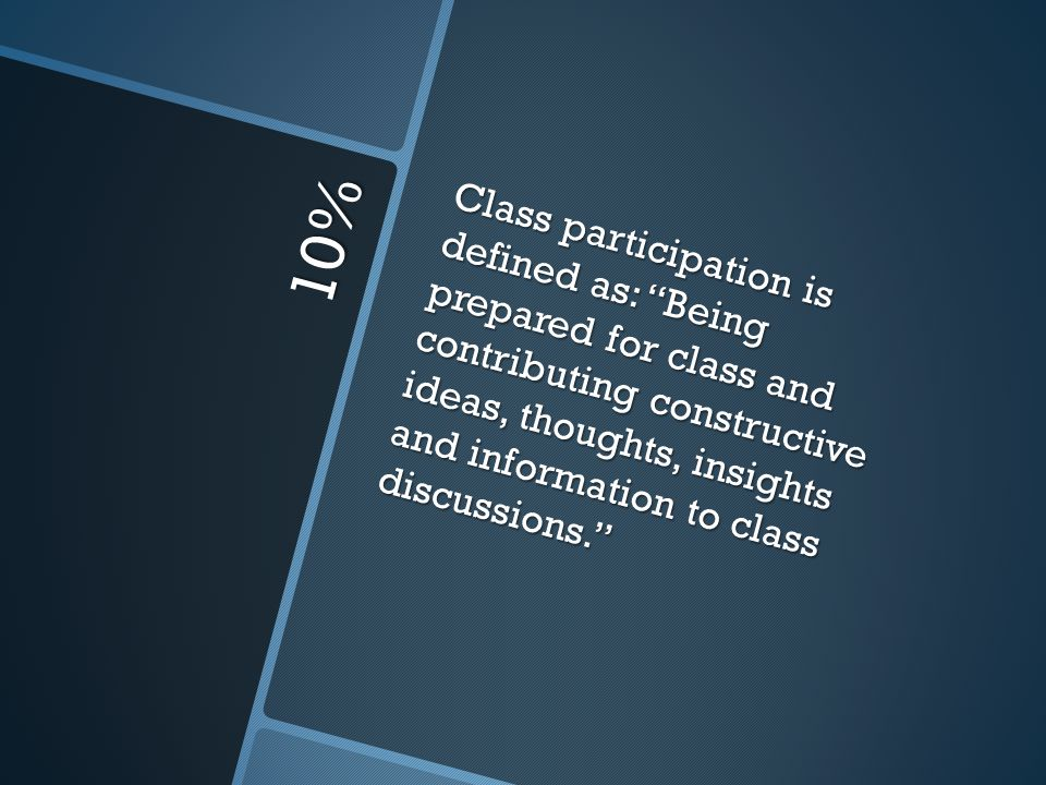 Class participation is defined as: Being prepared for class and contributing constructive ideas, thoughts, insights and information to class discussions.
