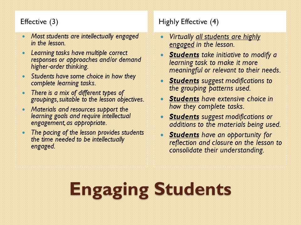 Engaging Students Effective (3) Highly Effective (4)