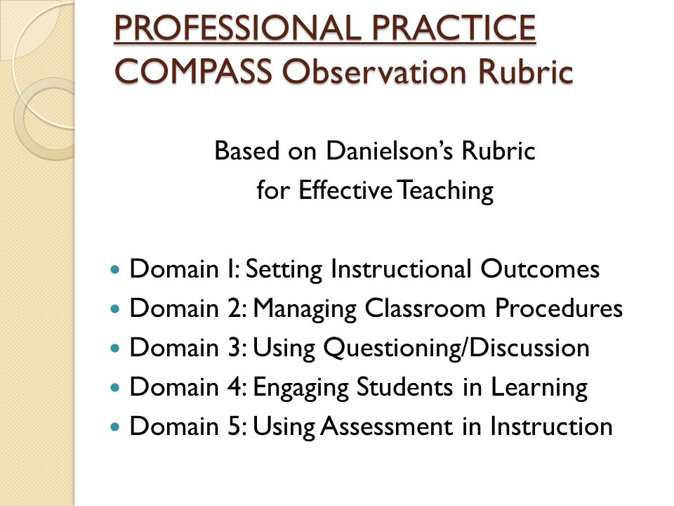 PROFESSIONAL PRACTICE COMPASS Observation Rubric