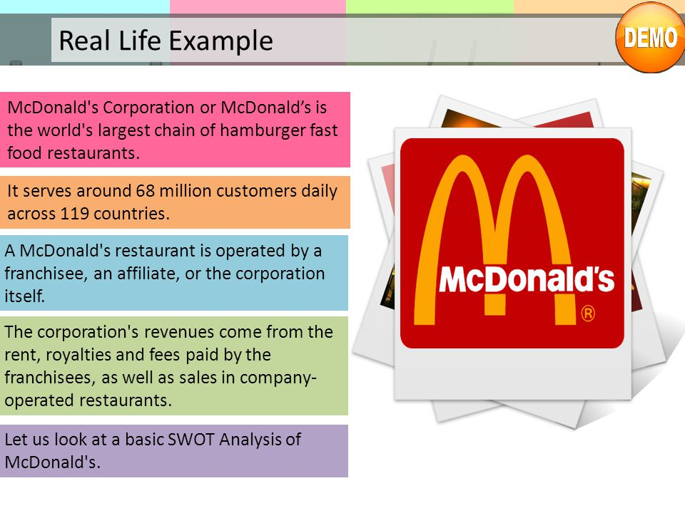 Real Life Example McDonald s Corporation or McDonald's is the world s largest chain of hamburger fast food restaurants.