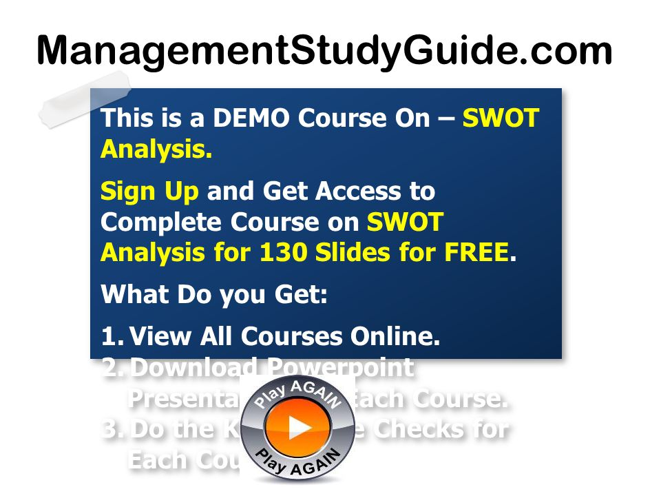 ManagementStudyGuide.com This is a DEMO Course On – SWOT Analysis.