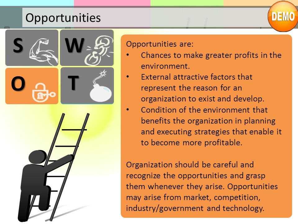 S S W W O T T Opportunities Opportunities are: