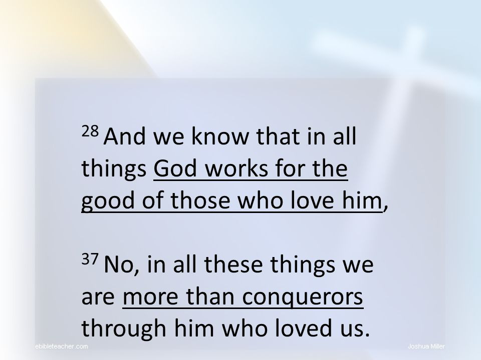 28 And we know that in all things God works for the good of those who love him,