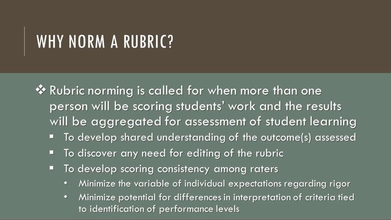 Why Norm a Rubric
