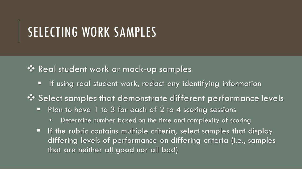 Selecting Work Samples