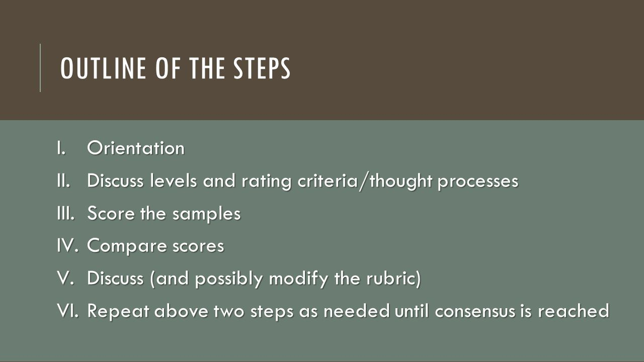 Outline of the Steps Orientation