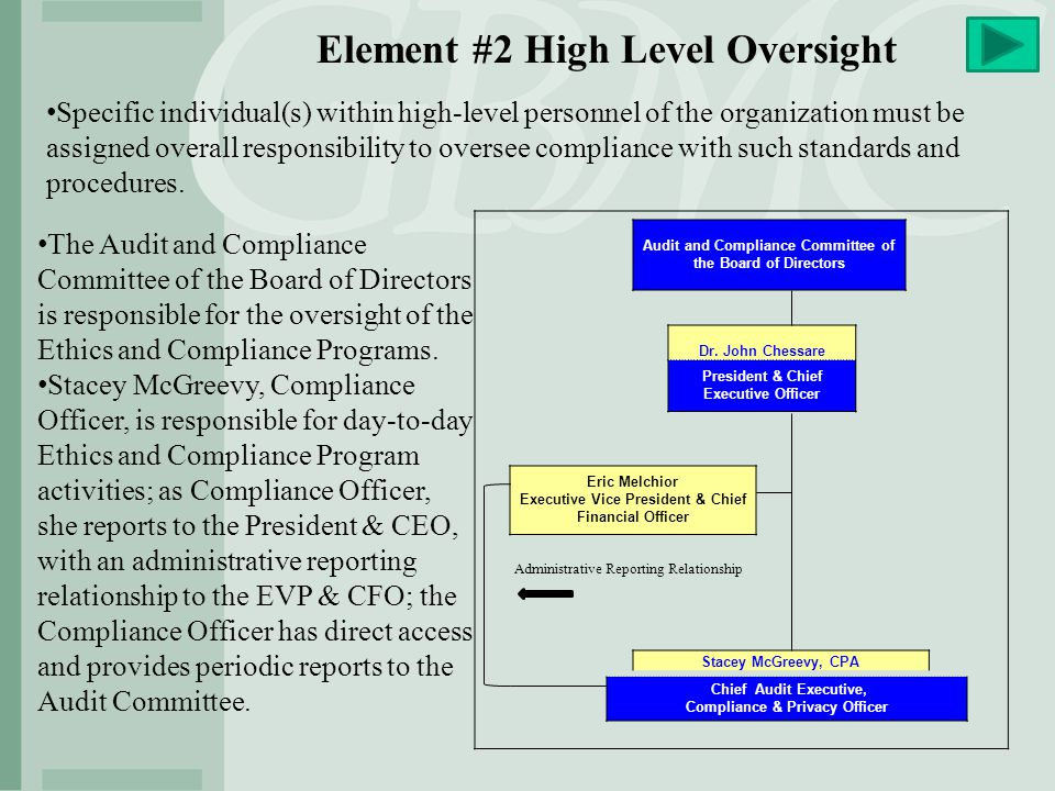 Element #2 High Level Oversight