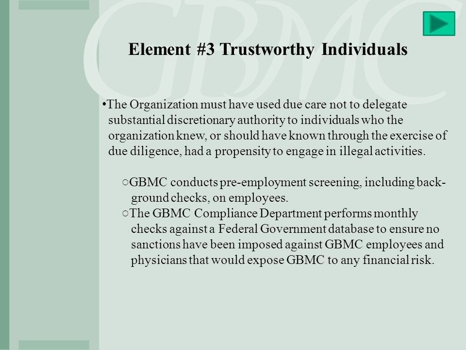 Element #3 Trustworthy Individuals