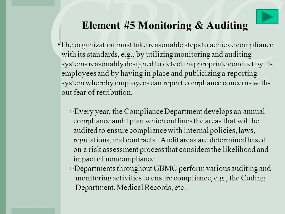 Element #5 Monitoring & Auditing