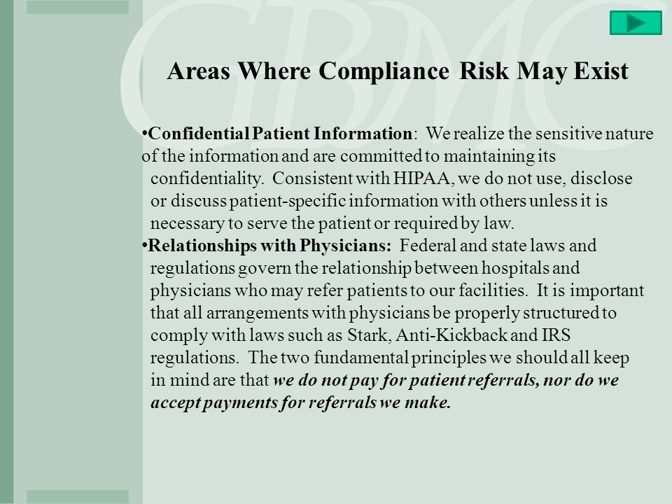 Areas Where Compliance Risk May Exist