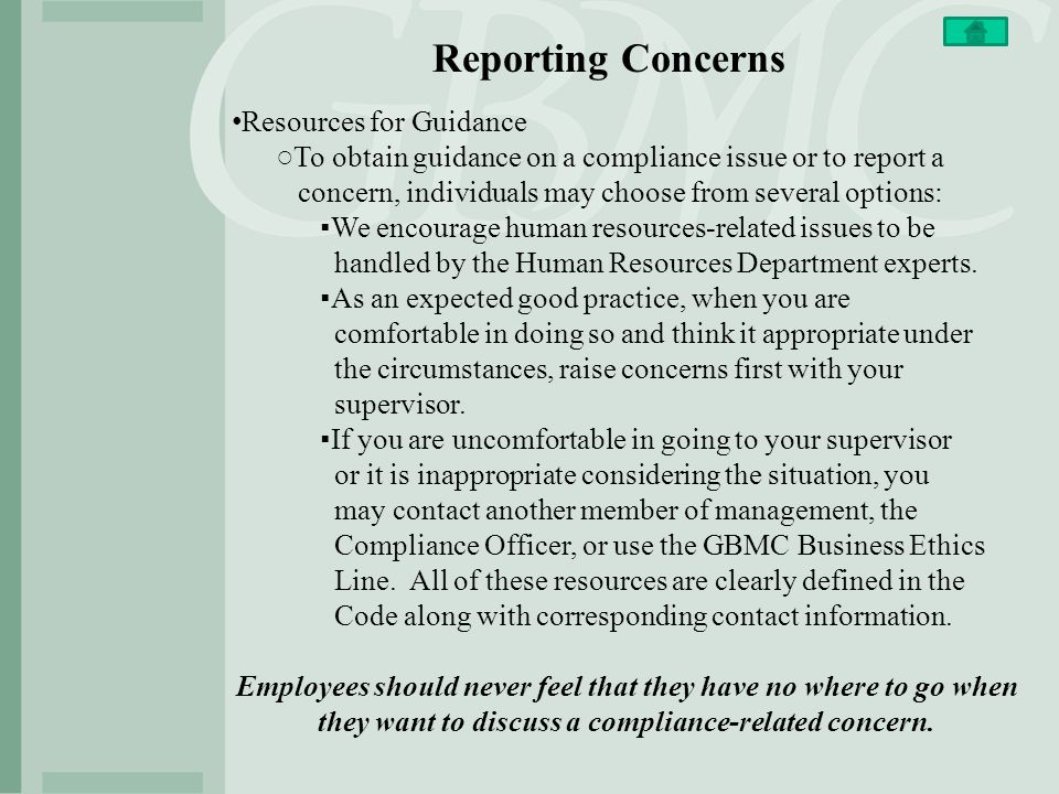 Reporting Concerns Resources for Guidance