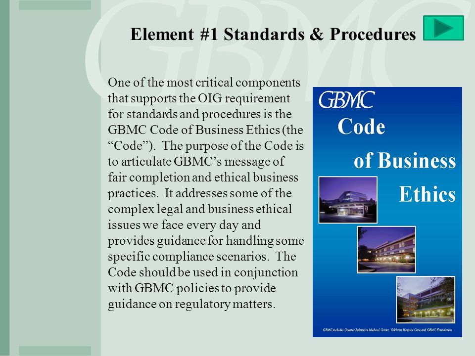 Element #1 Standards & Procedures