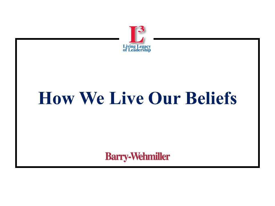 How We Live Our Beliefs