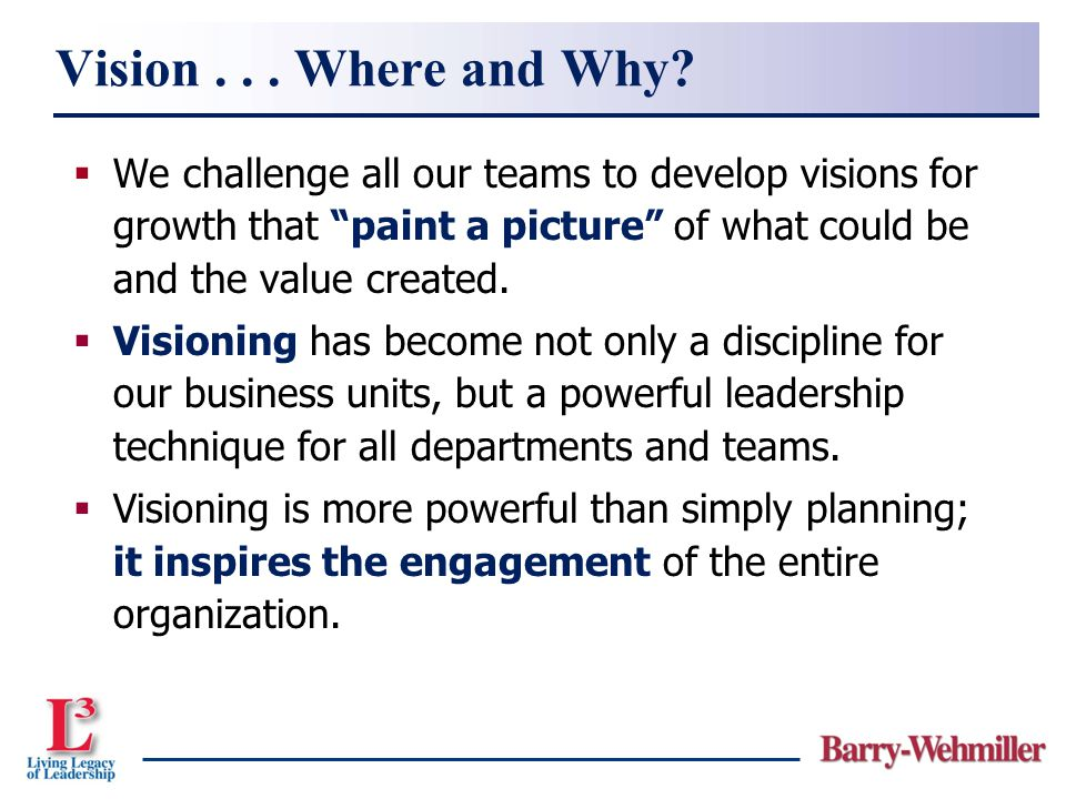 Vision . . . Where and Why We challenge all our teams to develop visions for growth that paint a picture of what could be and the value created.