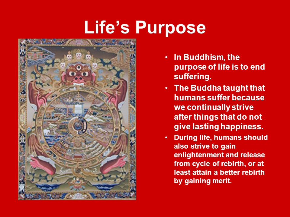 Life's Purpose In Buddhism, the purpose of life is to end suffering.