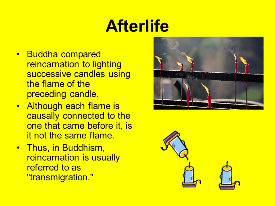 Afterlife Buddha compared reincarnation to lighting successive candles using the flame of the preceding candle.