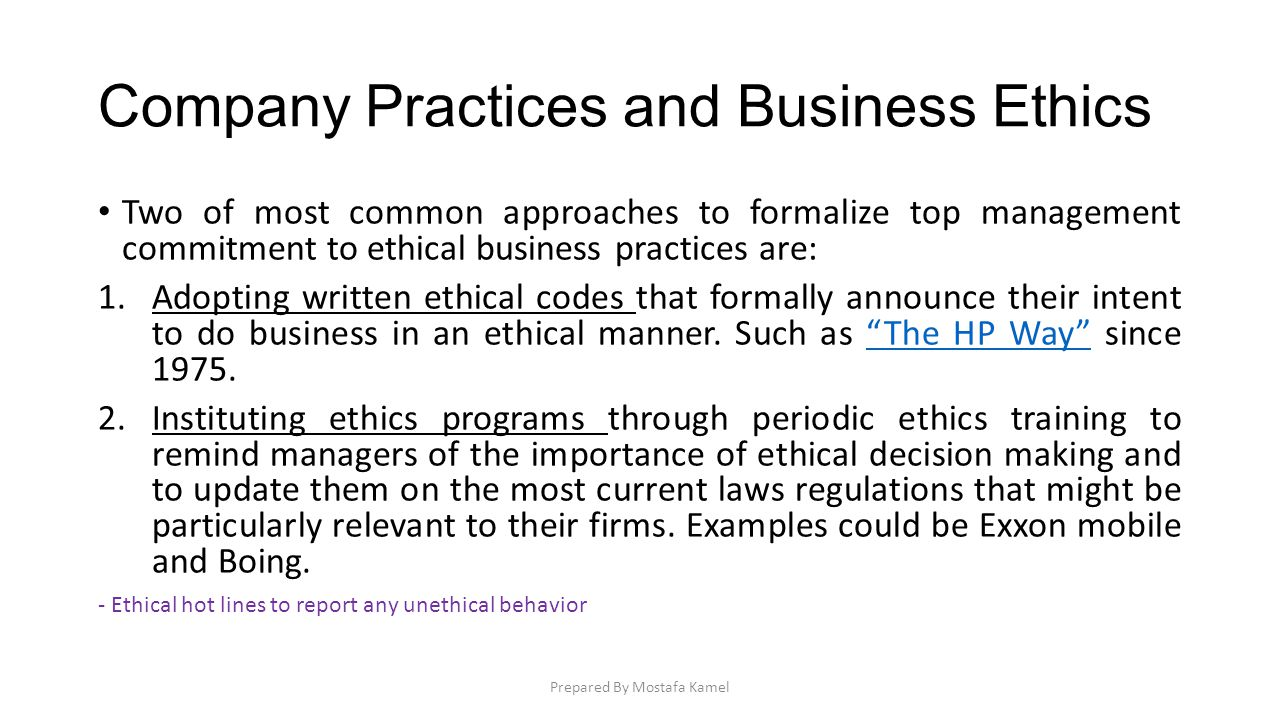 Company Practices and Business Ethics