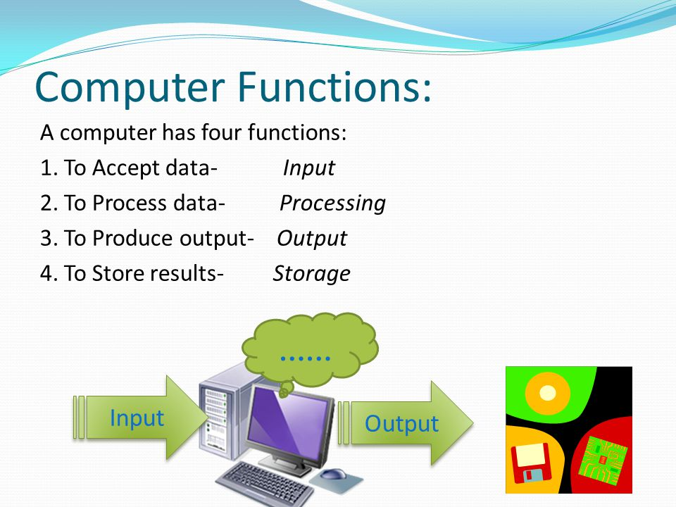 Computer Functions: …… Input Output A computer has four functions: