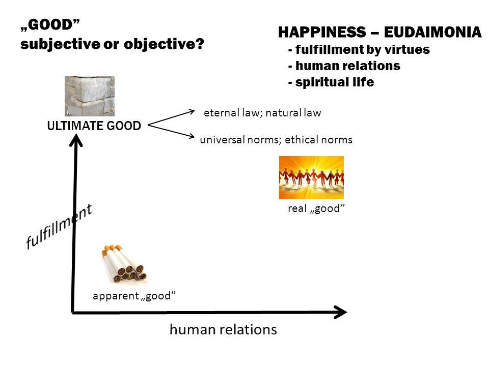 "fulfillment ""GOOD HAPPINESS – EUDAIMONIA subjective or objective"