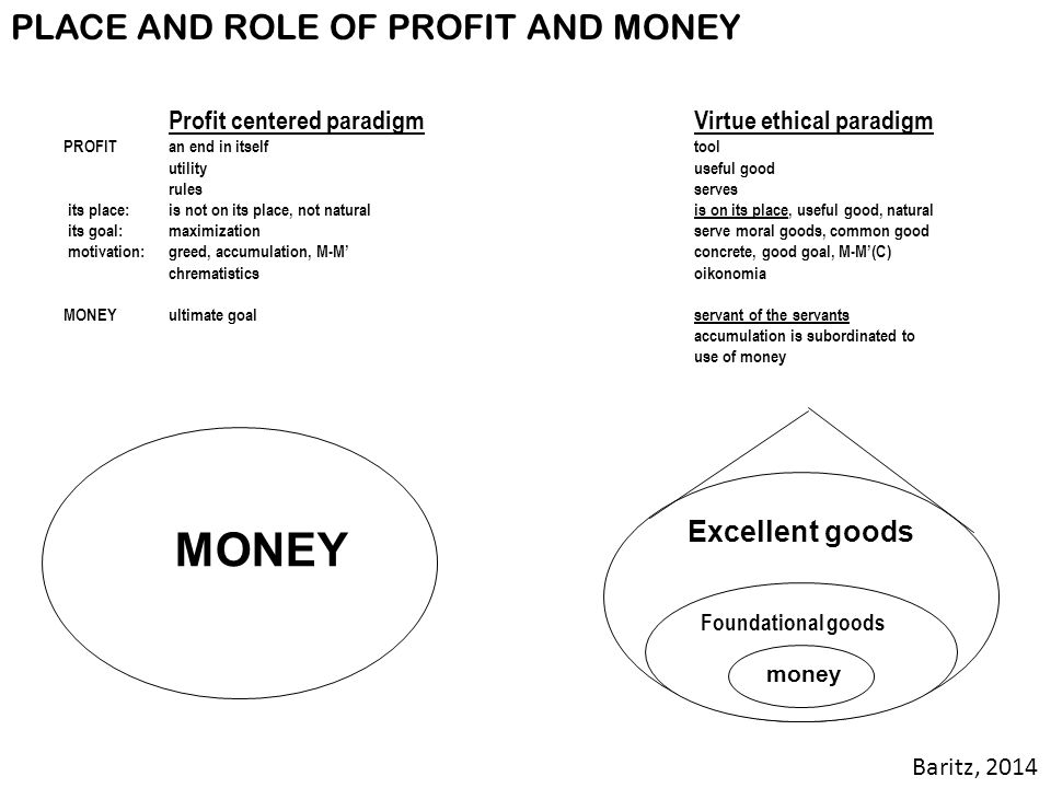 MONEY PLACE AND ROLE OF PROFIT AND MONEY Excellent goods Baritz, 2014