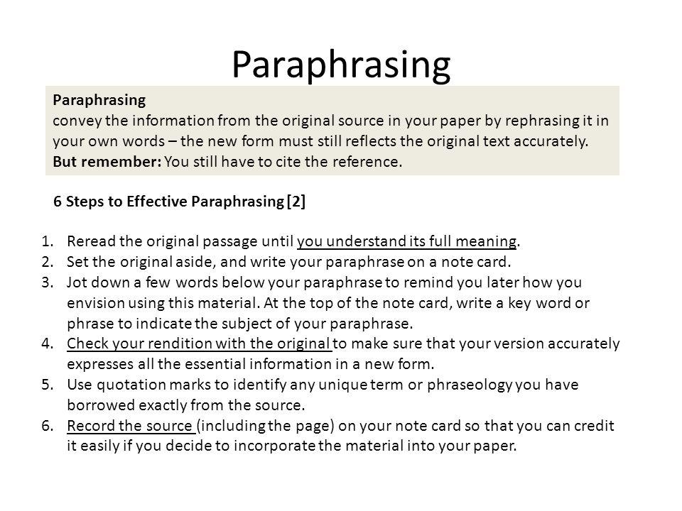 Paraphrasing Paraphrasing
