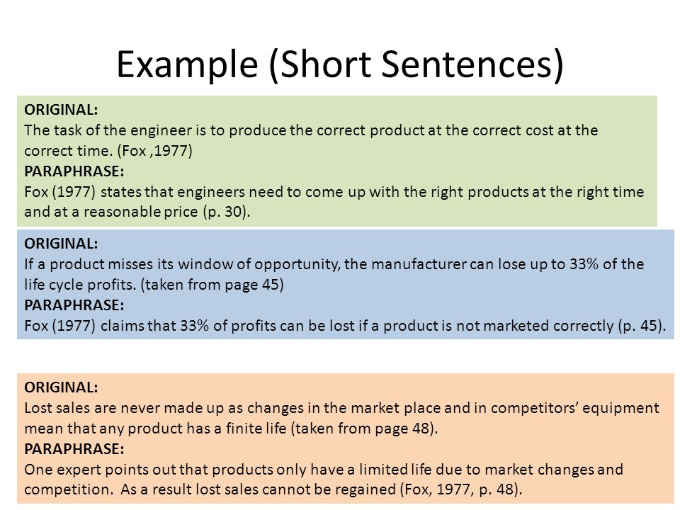 Example (Short Sentences)