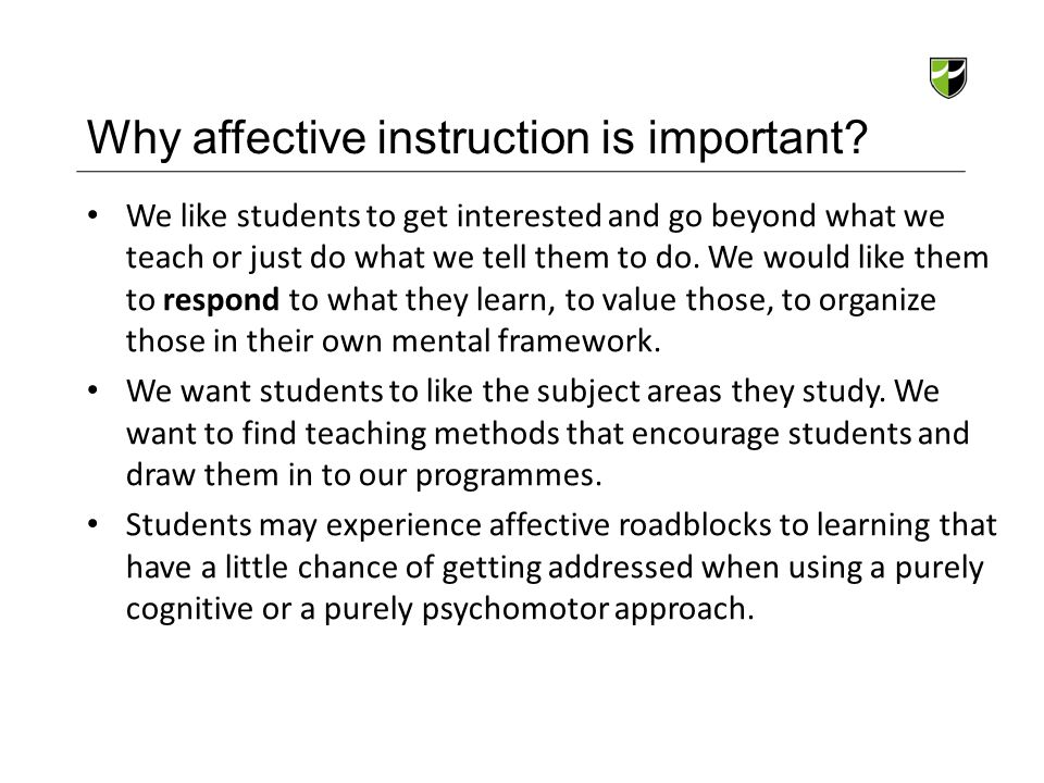 Why affective instruction is important