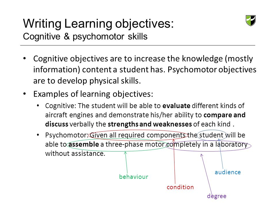 Writing Learning objectives: Cognitive & psychomotor skills