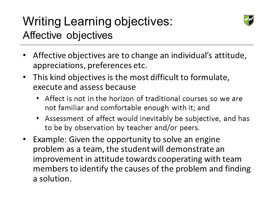 Writing Learning objectives: Affective objectives