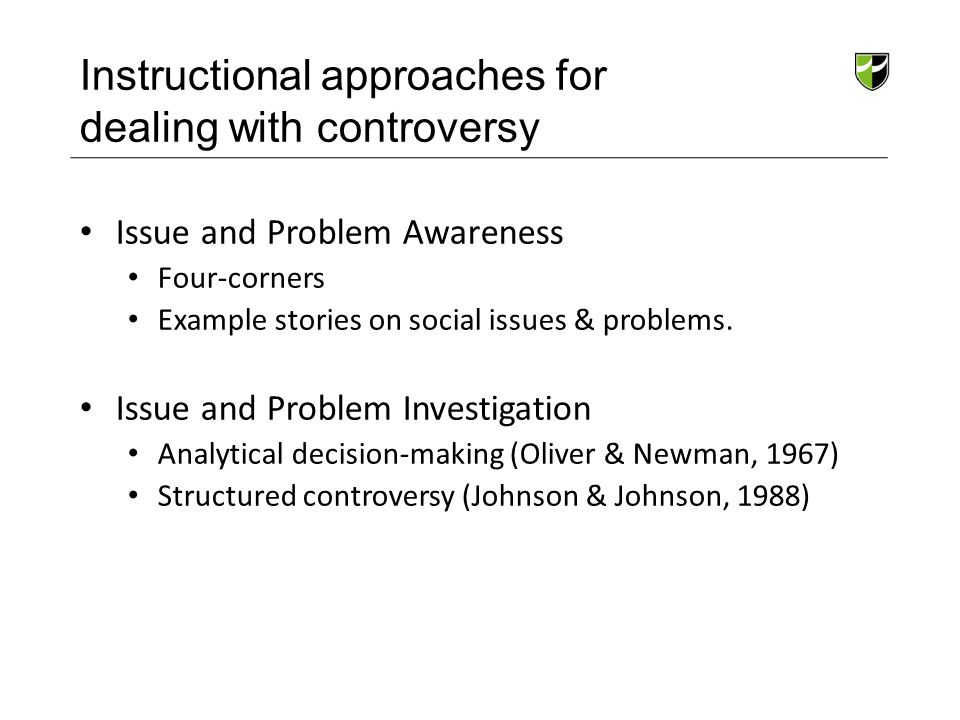 Instructional approaches for dealing with controversy