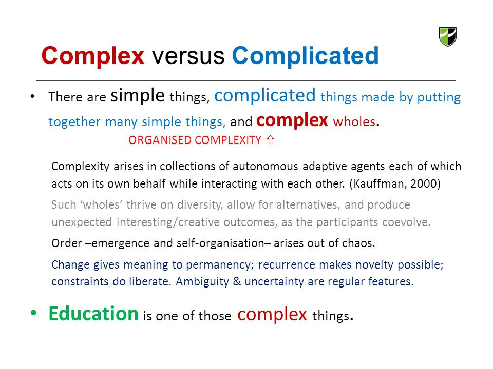 Complex versus Complicated