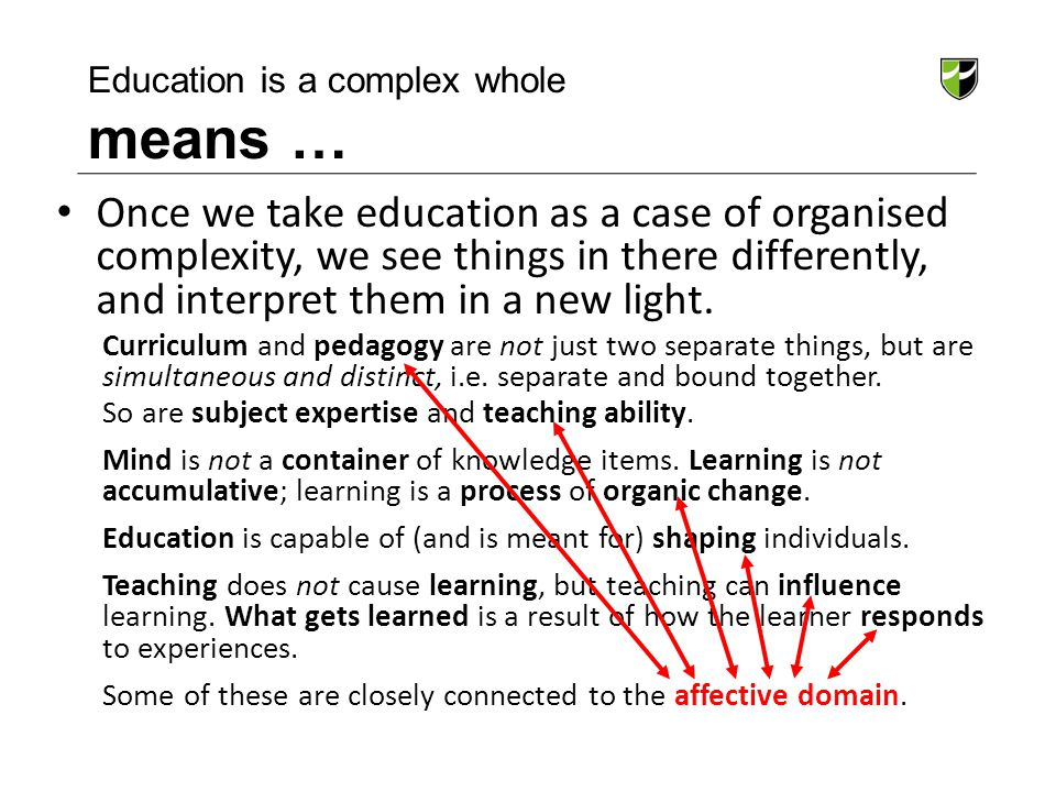 Education is a complex whole means …