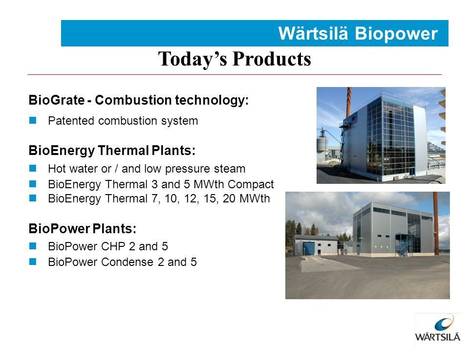 Today's Products Wärtsilä Biopower BioGrate - Combustion technology: