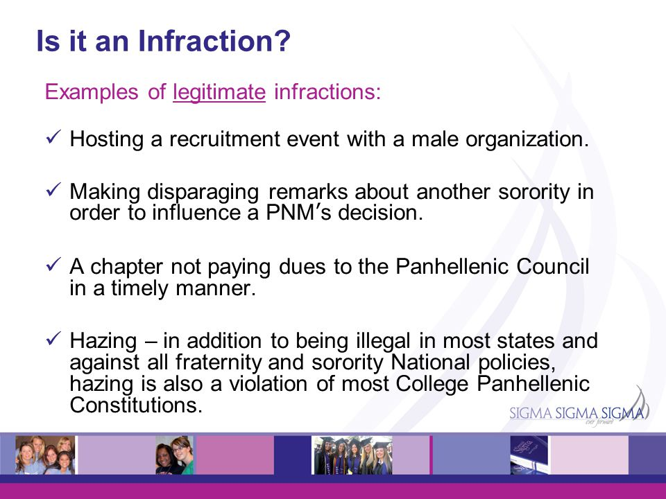 Is it an Infraction Examples of legitimate infractions: