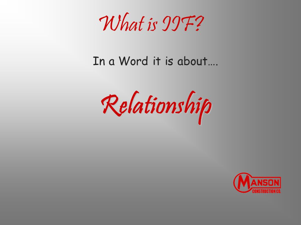 What is IIF In a Word it is about…. Relationship