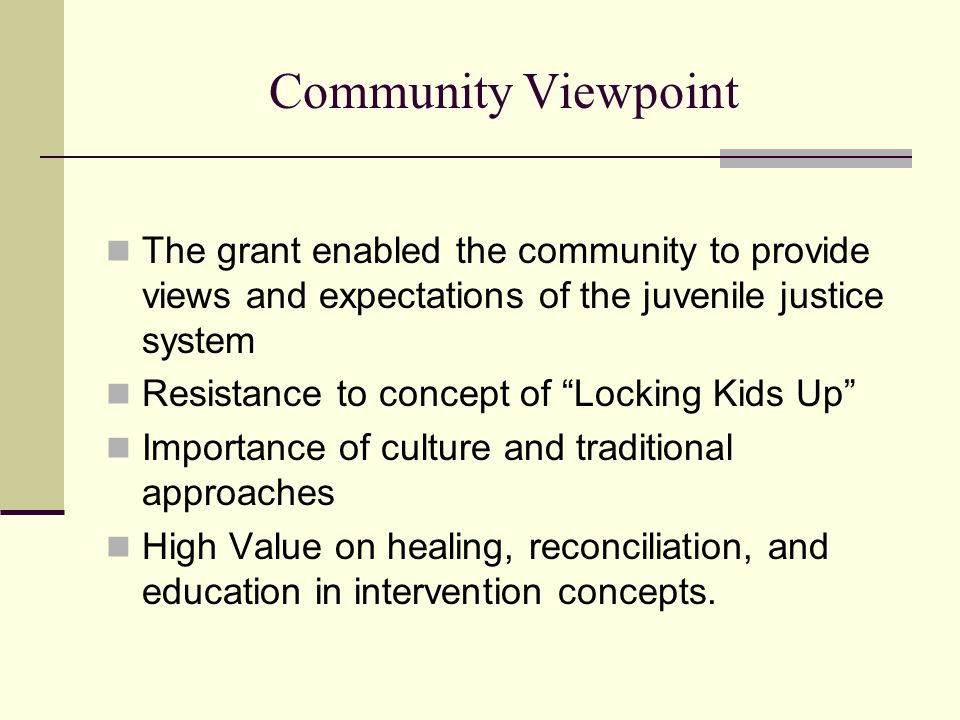 Community Viewpoint The grant enabled the community to provide views and expectations of the juvenile justice system.