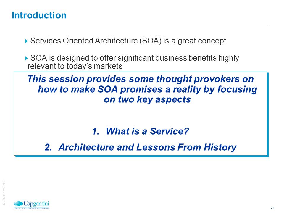 So, What is a Service © 2004 Capgemini - All rights reserved
