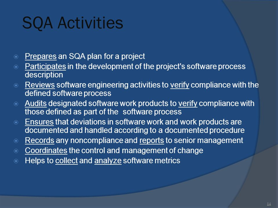 SQA Activities Prepares an SQA plan for a project