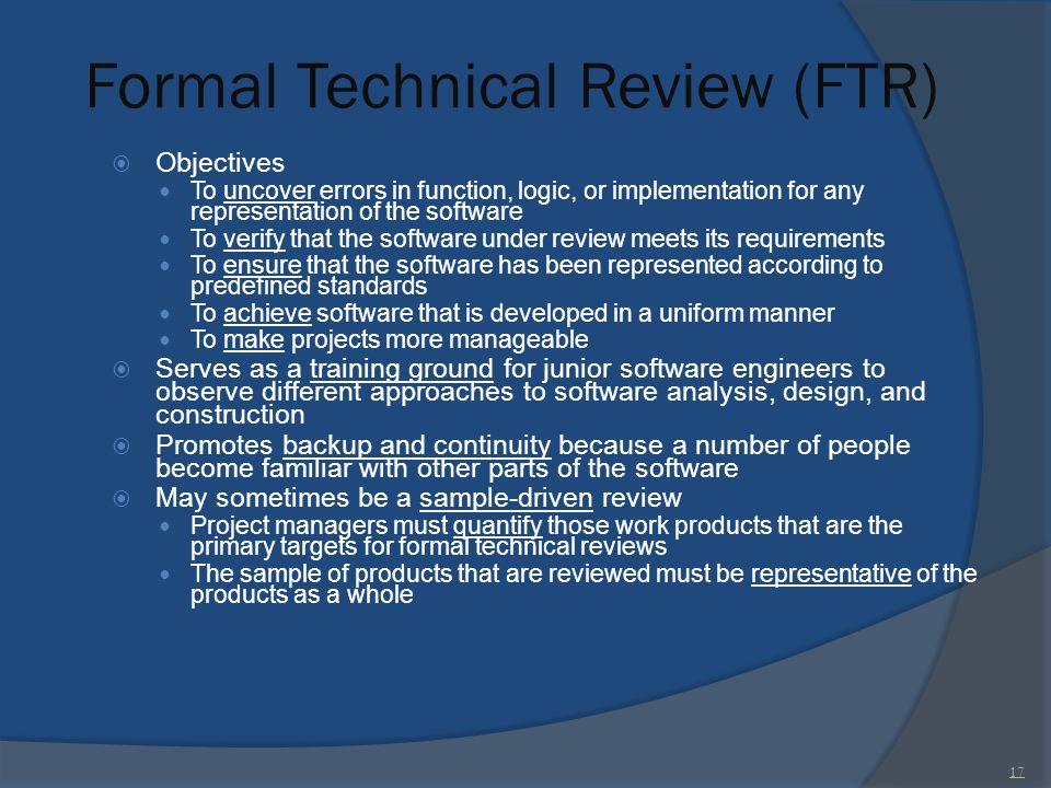 Formal Technical Review (FTR)
