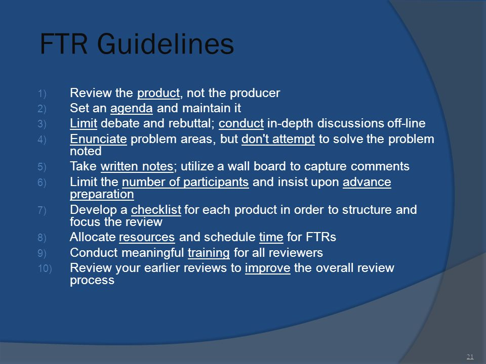 FTR Guidelines Review the product, not the producer