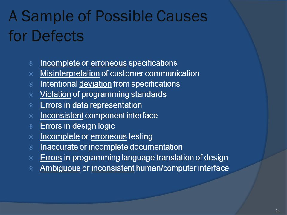 A Sample of Possible Causes for Defects