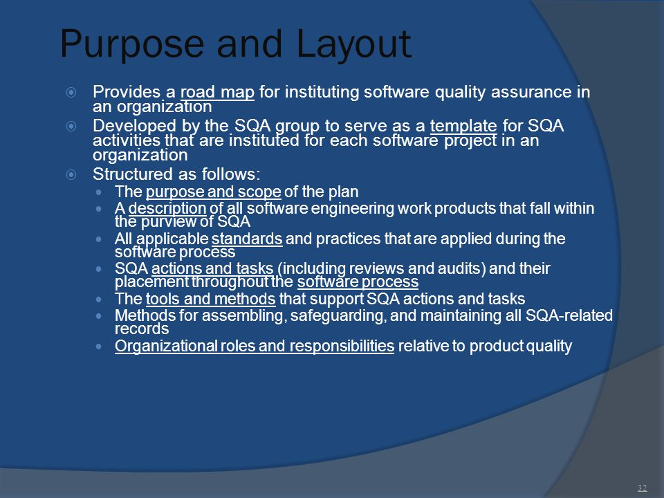 Purpose and Layout Provides a road map for instituting software quality assurance in an organization.