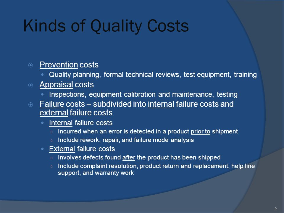 Kinds of Quality Costs Prevention costs Appraisal costs