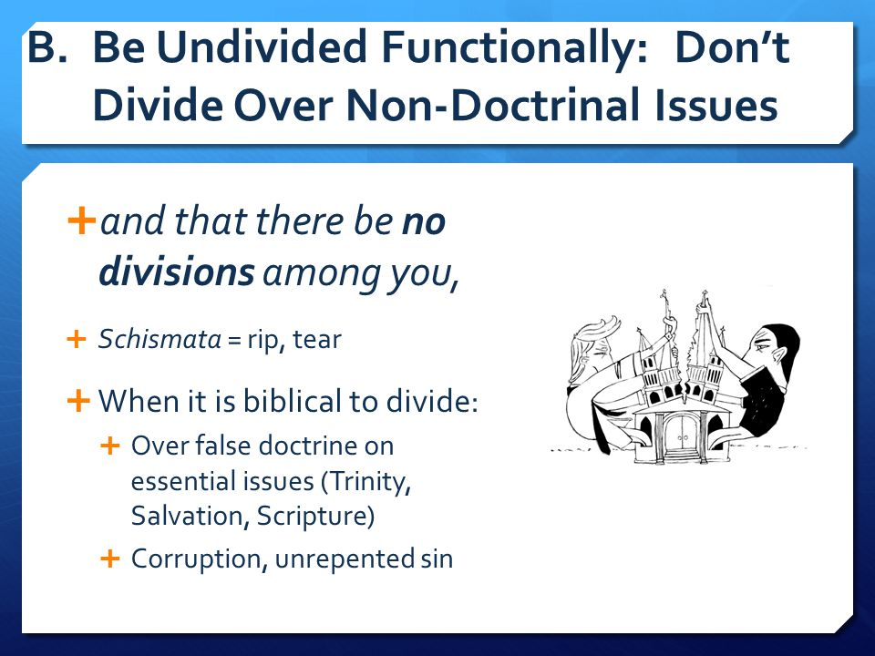 B. Be Undivided Functionally: Don't Divide Over Non-Doctrinal Issues