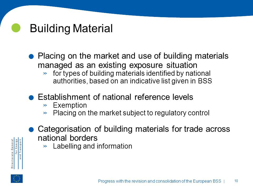 Building Material Placing on the market and use of building materials managed as an existing exposure situation.