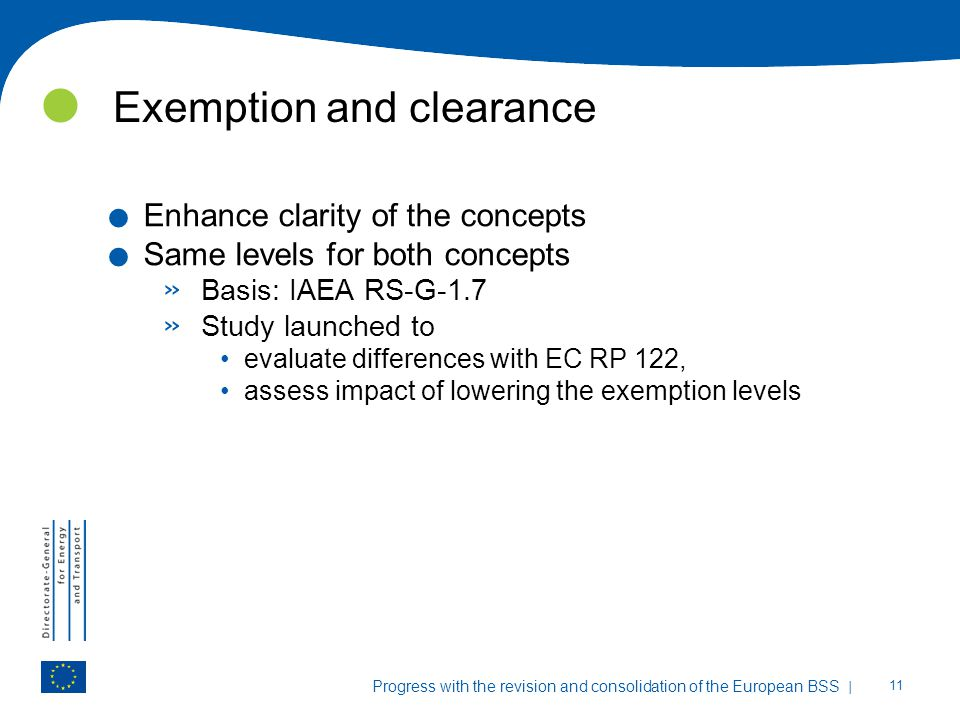 Exemption and clearance