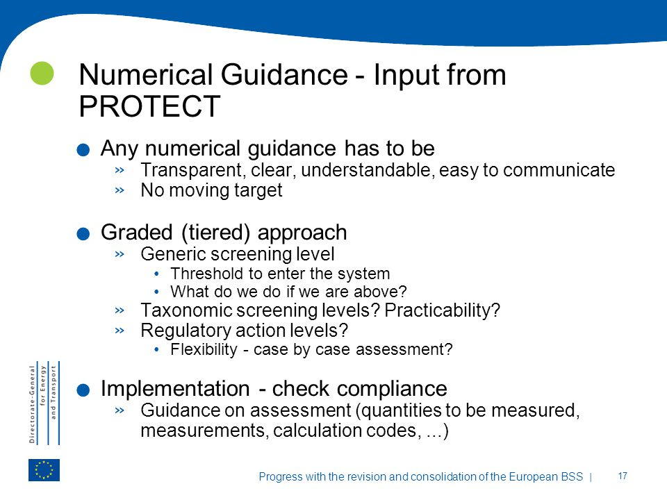 Numerical Guidance - Input from PROTECT