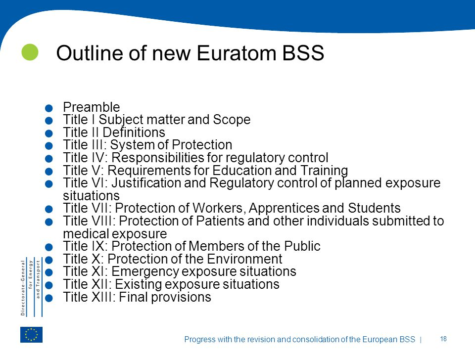 Outline of new Euratom BSS