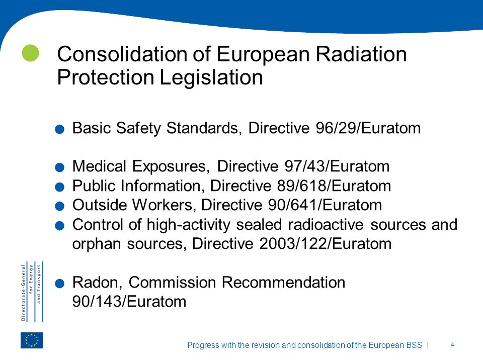 Consolidation of European Radiation Protection Legislation